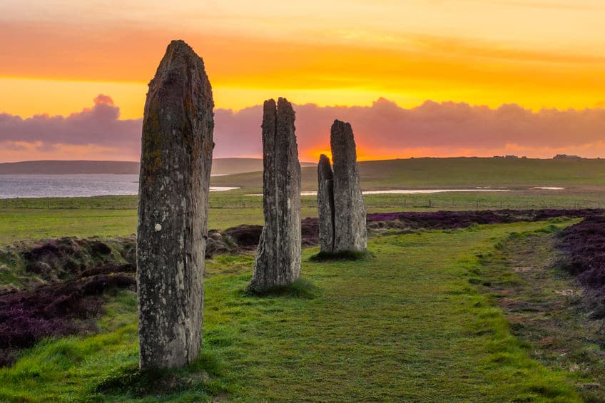 Three standing stones of the Ring of Brodgar